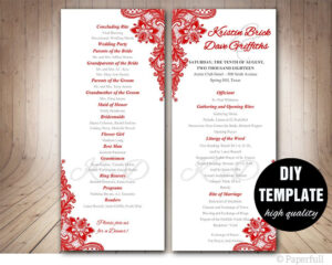 Red Wedding Program Template, Instant Download Microsoft within Free Printable Wedding Program Templates Word