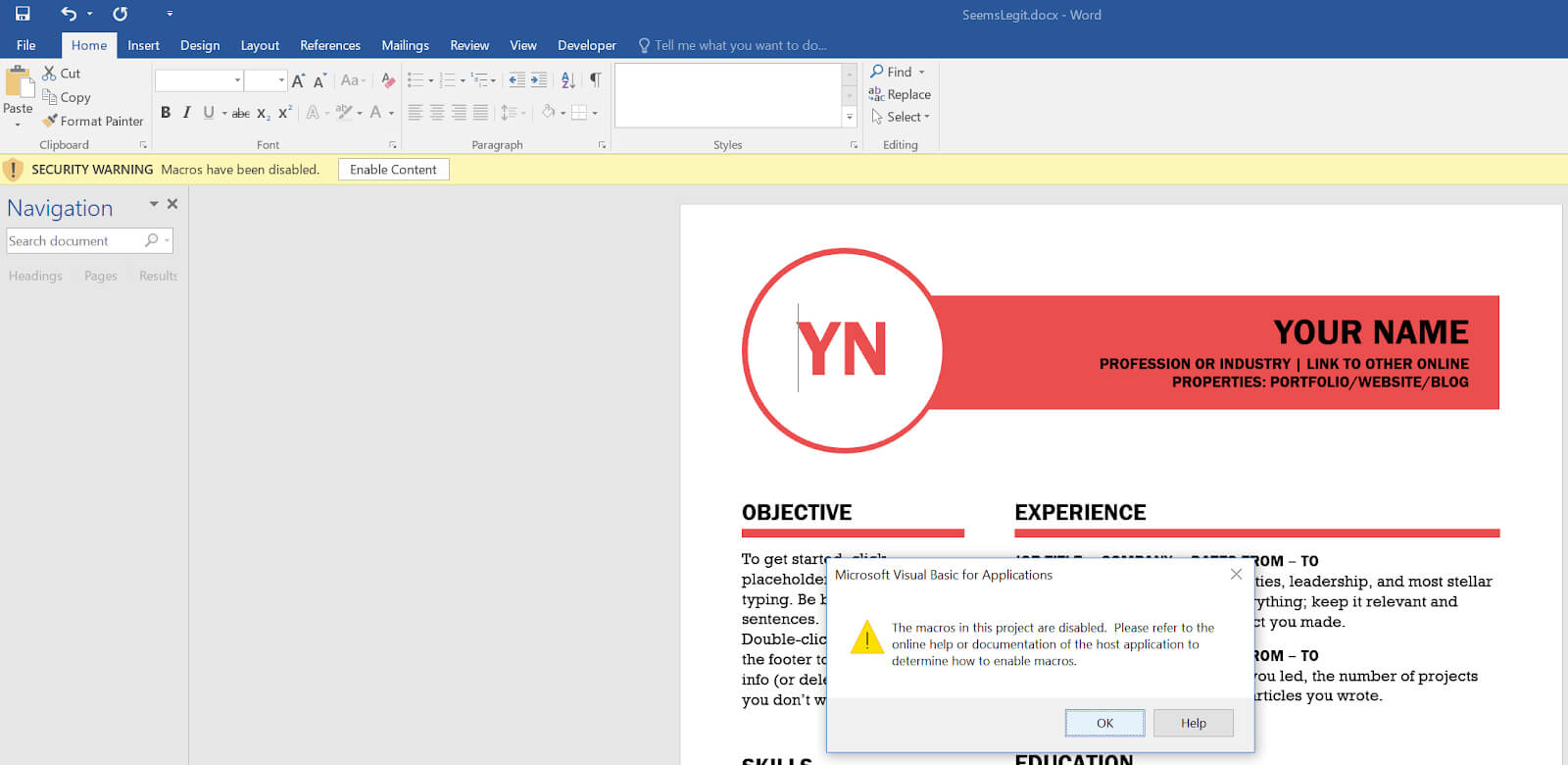 Red Xor Blue: Executing Macros From A Docx With Remote Throughout Word Macro Enabled Template