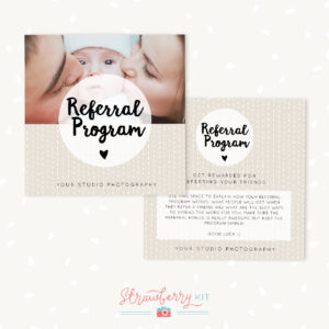 Referral Cards Photoshop Template – Strawberry Kit for Photography Referral Card Templates