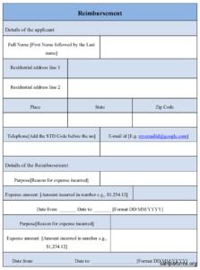 Reimbursement Form Template : Sample Forms within Reimbursement Form Template Word