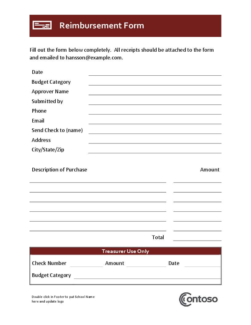 Reimbursement Form Throughout Reimbursement Form Template Word