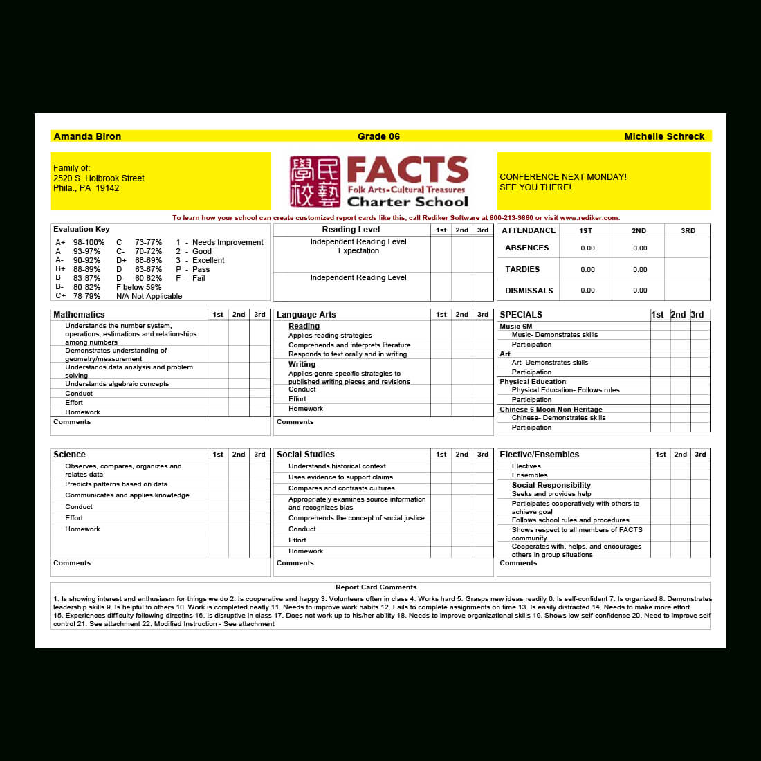 Report Card Software – Grade Management   Rediker Software With Middle School Report Card Template
