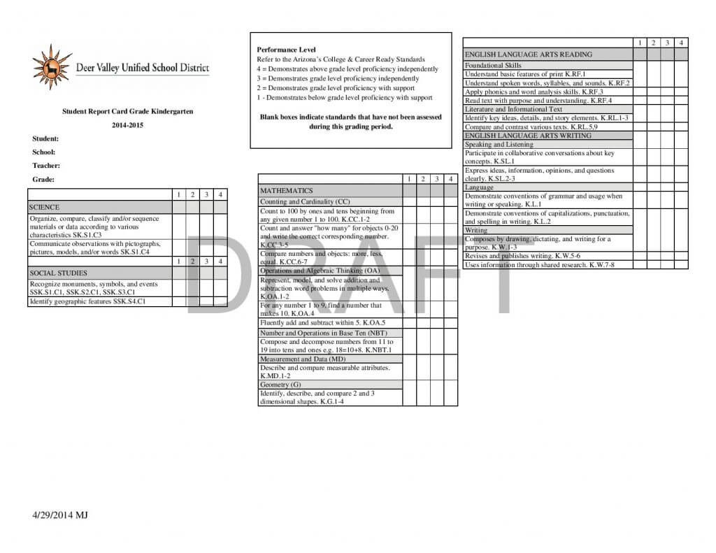 Report Card Template – 33+ Free Word, Excel, Documents With Regard To Kindergarten Report Card Template