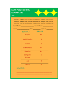 Report Card Template for Report Card Format Template