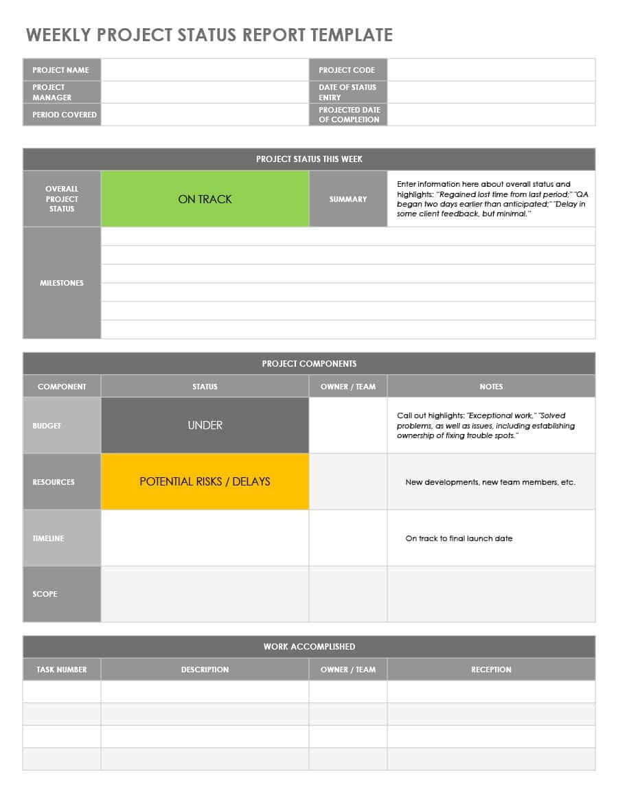 Report Project Status Template For Senior Management Free Throughout Report To Senior Management Template