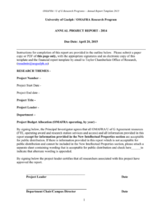 Report Template – University Of Guelph in Research Project Report Template