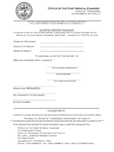 Request Autopsy Report Tn – Fill Online, Printable, Fillable for Autopsy Report Template