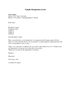 Resignation Letter 2 Weeks Notice Resignation Letter intended for Two Week Notice Template Word