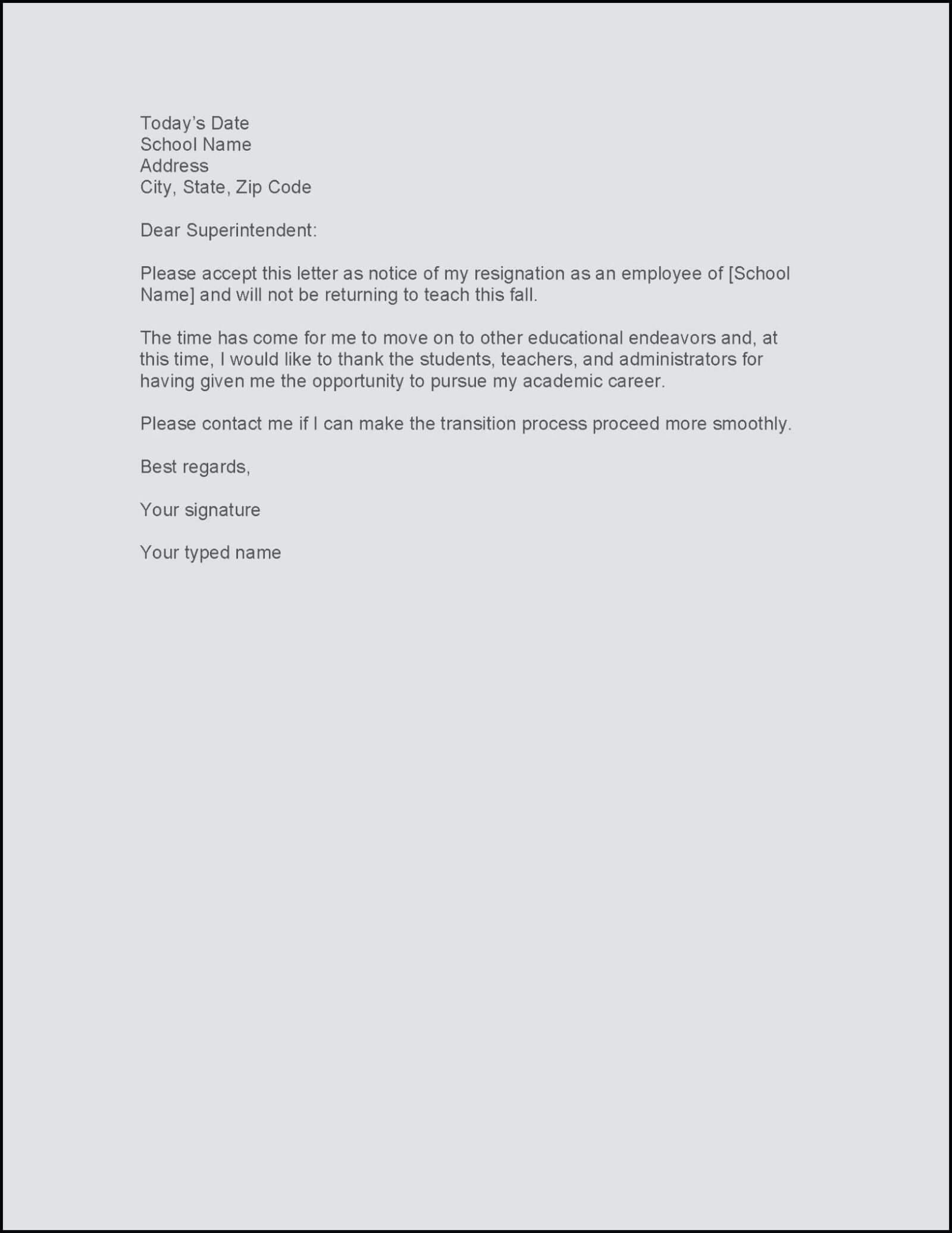 Resignation Letter Sample For Hotel Industry Template Word With Regard To 2 Weeks Notice Template Word