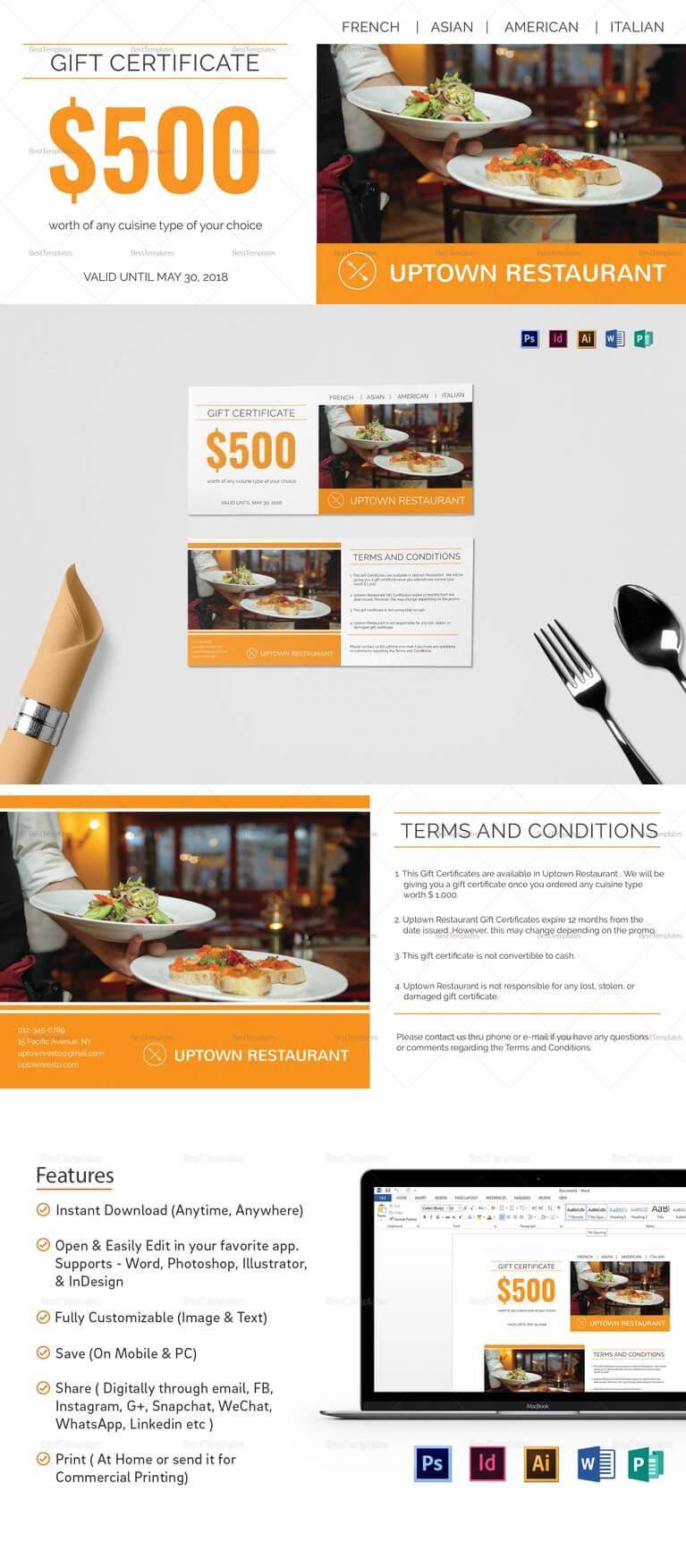 Restaurant Gift Certificate Template | ❱❱ Restaurant Intended For Restaurant Gift Certificate Template
