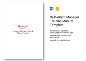 Restaurant Manager Training Manual Template In Word, Apple Pages pertaining to Training Documentation Template Word