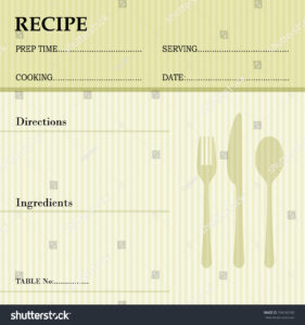 Restaurant Recipe Kitchen Note Template Menu Stock Vector intended for Restaurant Recipe Card Template