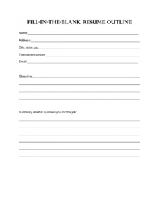 Resume Design. Blank Resume Template Sample Blank Resume in Free Bio Template Fill In Blank