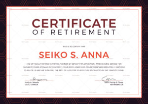 Retirement Certificate Template For Retirement Certificate Template