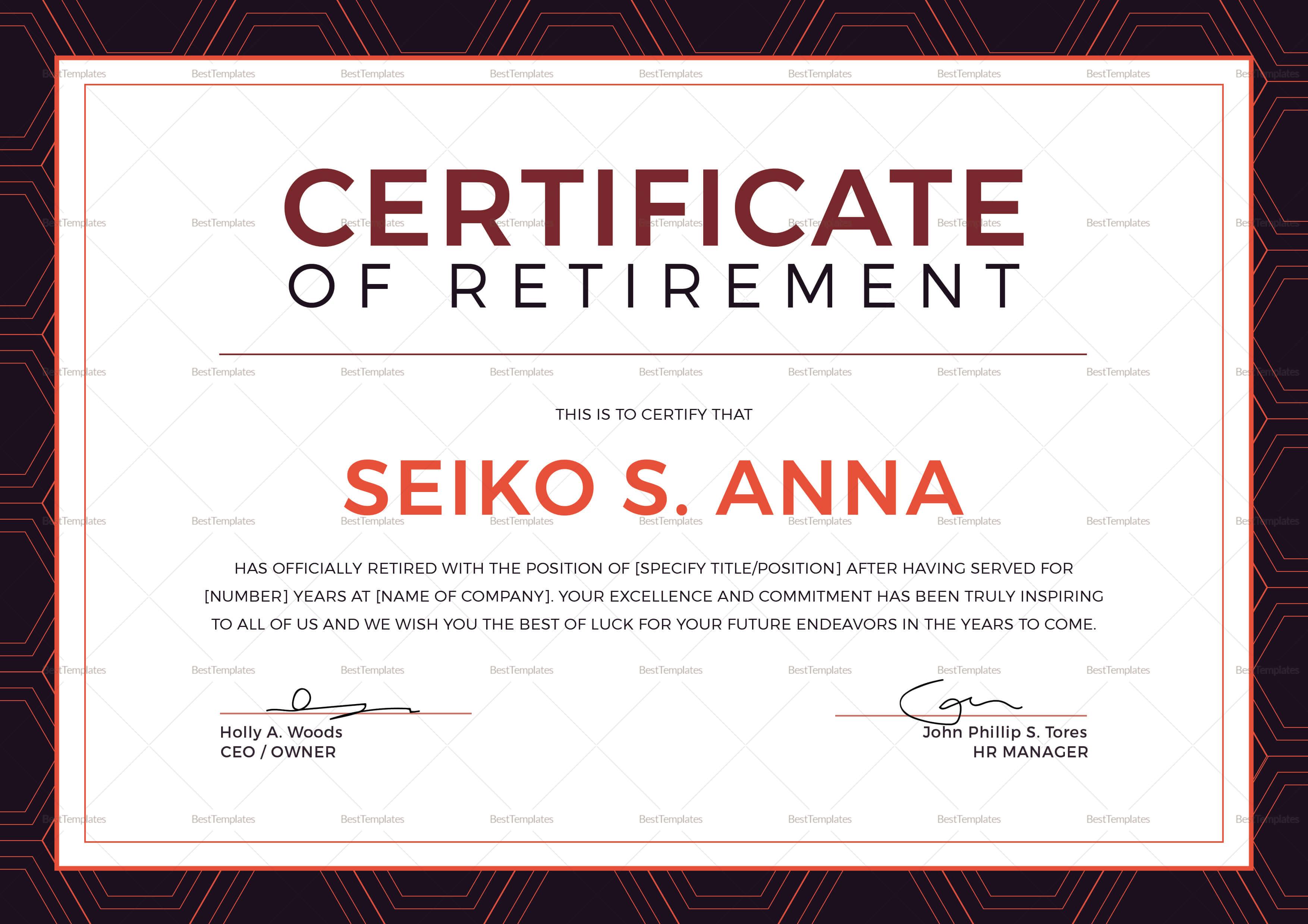 Retirement Certificate Template For Retirement Certificate Template