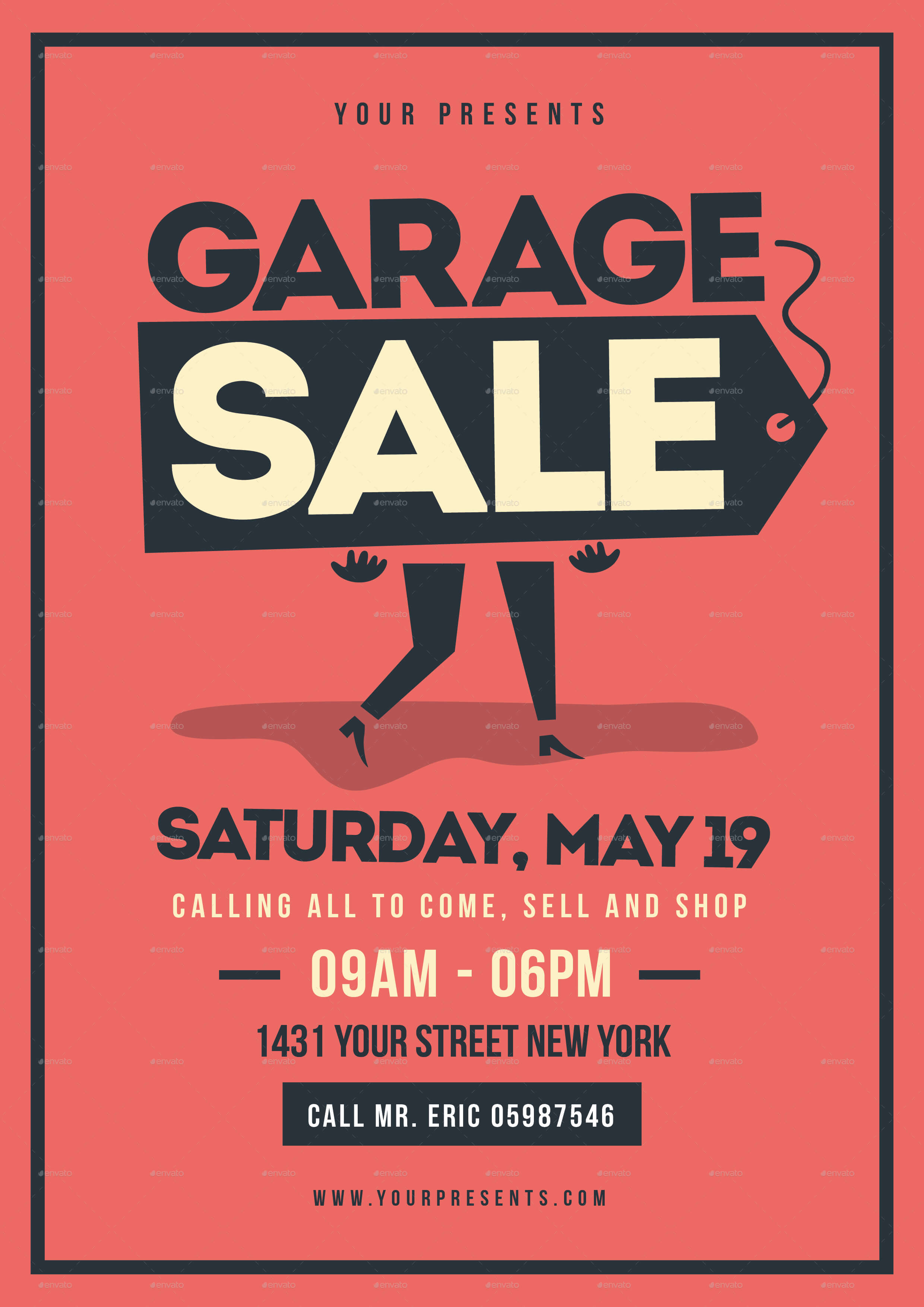 Retro Garage Sale Flyer In Yard Sale Flyer Template Word