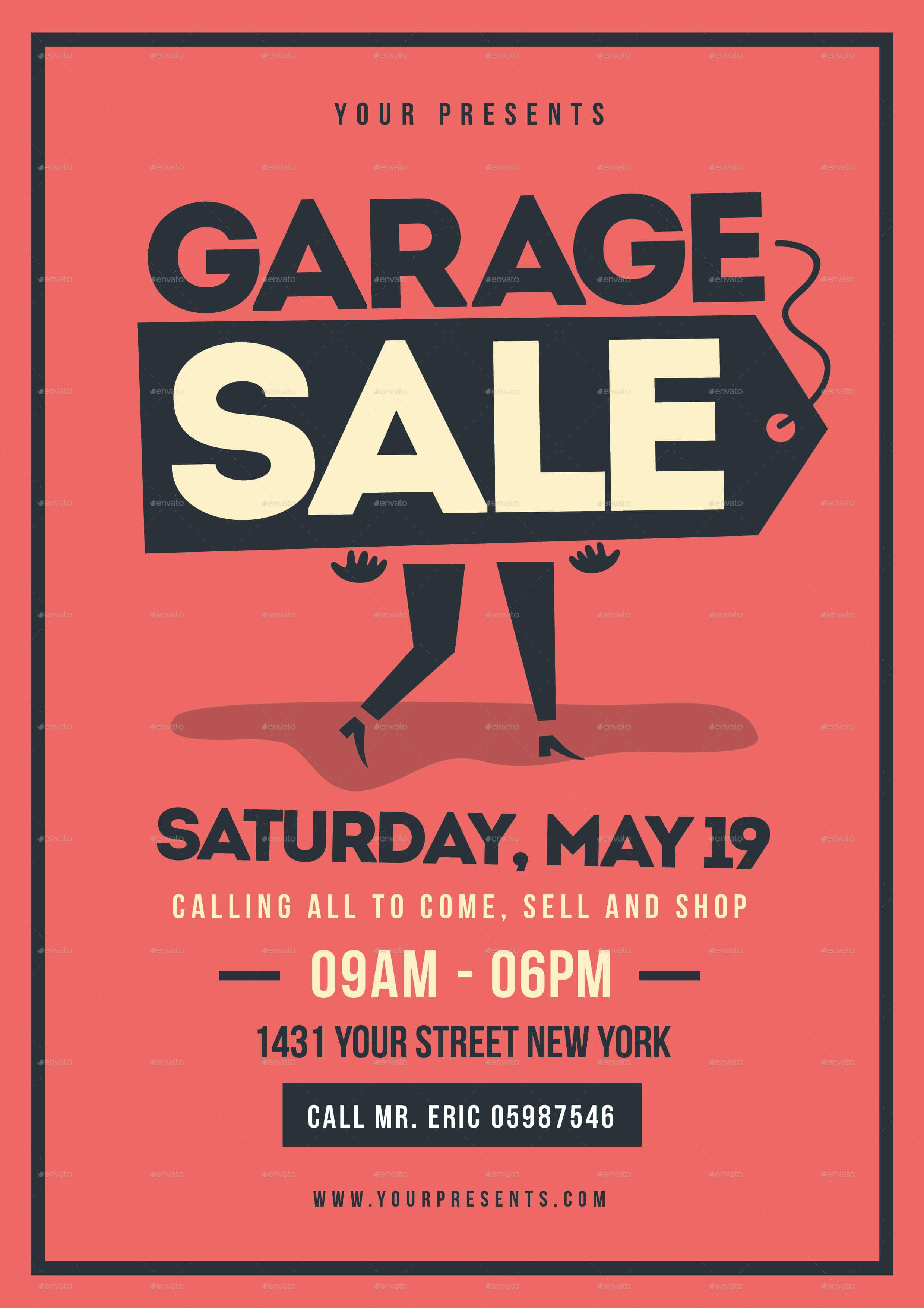 Retro Garage Sale Flyer Regarding Garage Sale Flyer Template Word