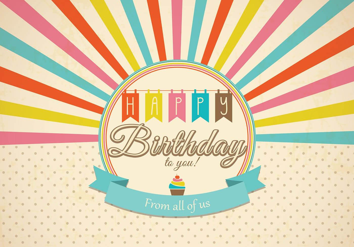 Retro Happy Birthday Card Psd - Free Photoshop Brushes At In Photoshop Birthday Card Template Free