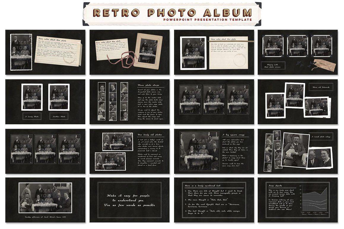 Retro Photo Album Ppt Templateblixa 6 Studios On Inside Powerpoint Photo Album Template