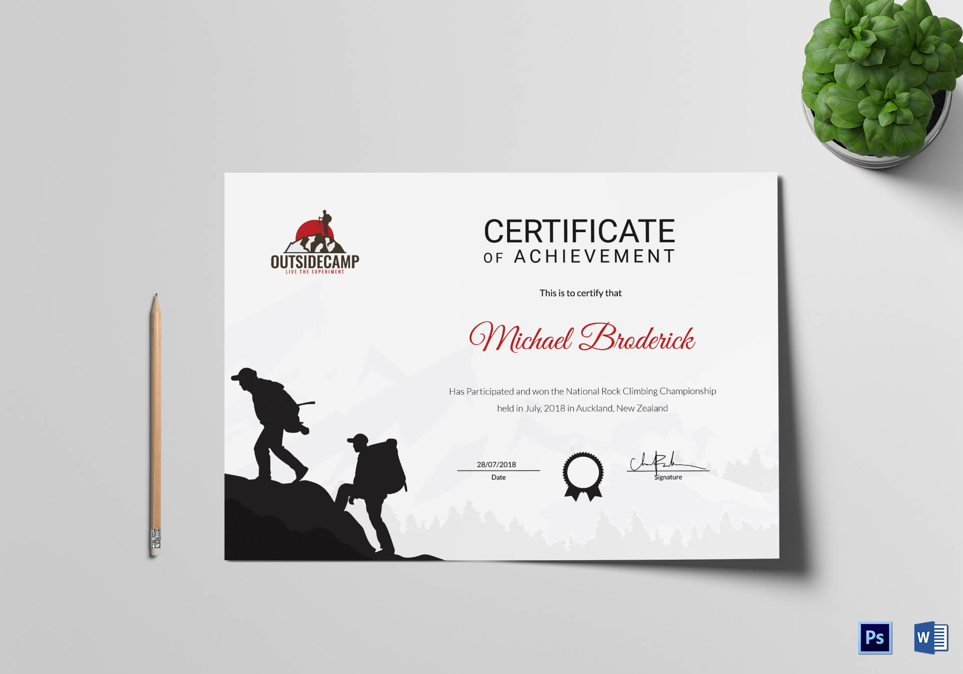 Rock Climbing Participation Certificate Template With Walking Certificate Templates