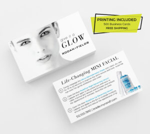 Rodan & Fields Mini Facial Cards Printed 500 Business Cards Template  Personalized Skincare R+F Consultant Redefine Sample Give It A Glow in Rodan And Fields Business Card Template