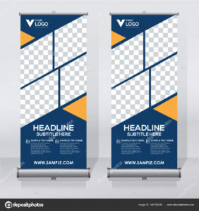 Roll Banner Design Template Vertical Abstract Background In Retractable Banner Design Templates
