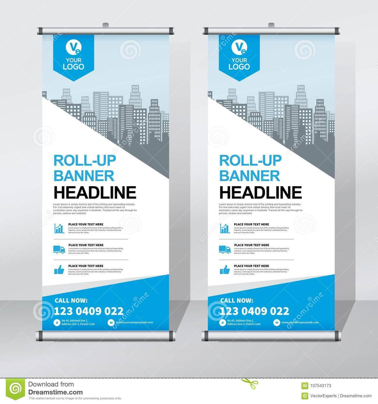 Roll Up Banner Design Template, Vertical, Abstract For Retractable Banner Design Templates