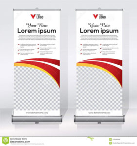 Roll Up Banner Design Template, Vertical, Abstract In Retractable Banner Design Templates