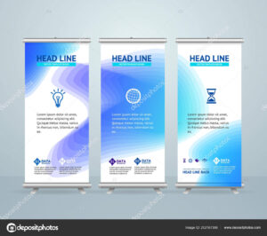 Roll Up Banner Stand Design Template. Vector — Stock Vector intended for Banner Stand Design Templates