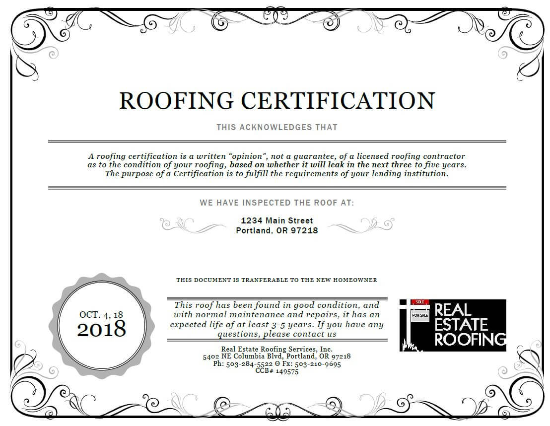 Roof Certification: Sample | Real Estate Roofing With Roof Certification Template