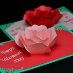 Rose Flower Pop Up Card Template Regarding Templates For Pop Up Cards Free