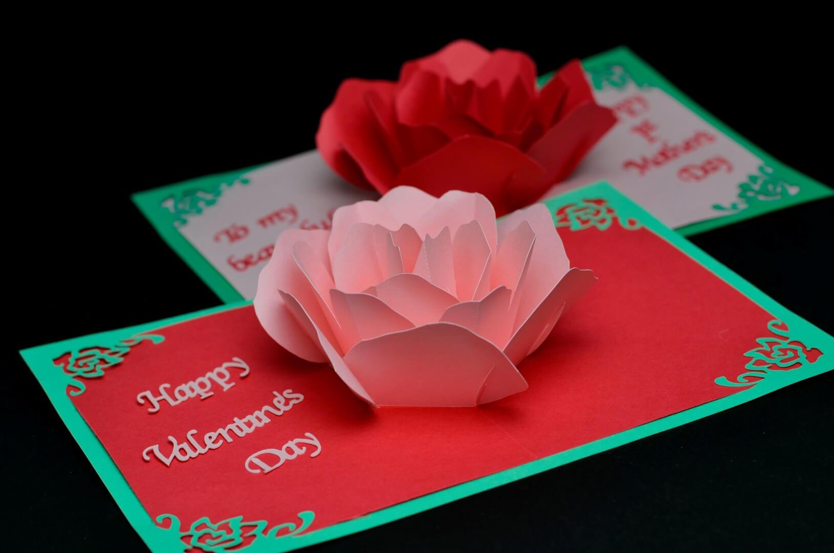 Rose Flower Pop Up Card Template Regarding Templates For Pop Up Cards Free