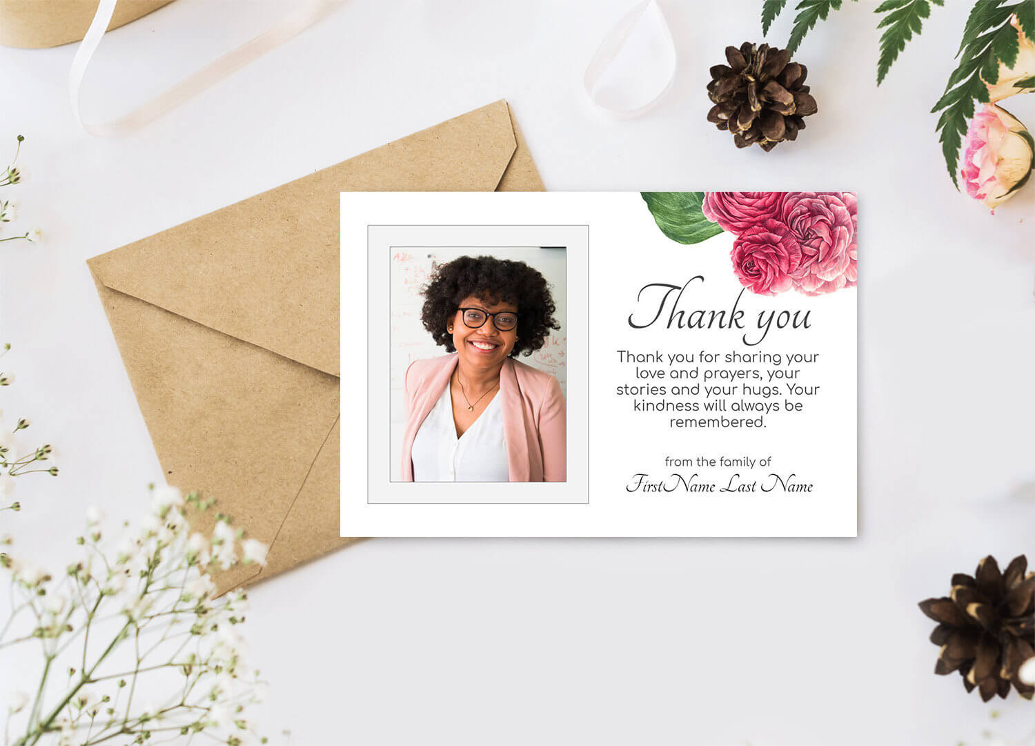 Roses Funeral Thank You Cards. Printable Sympathy Thank You, Editable  Bereavement Thank You Card – Online Edit Digital Download Pertaining To Sympathy Thank You Card Template