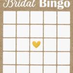 Rustic Bridal Shower Bingo, Burlap And Lace Bingo, Printable inside Blank Bridal Shower Bingo Template