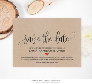 Rustic Save The Date Template, Kraft Save The Date Heart, Wedding Save The  Date Printable, Rustic Wedding Editable Instant Download Sd19 with Save The Date Powerpoint Template