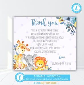 Safari Animal Boy Baby Shower Thank You Card, Thank You With Template For Baby Shower Thank You Cards