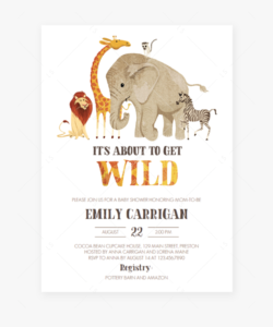Safari Baby Shower Invitation Template Download- Indian with Blank Elephant Template