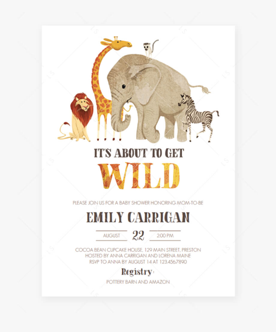 Safari Baby Shower Invitation Template Download  Indian With Blank Elephant Template