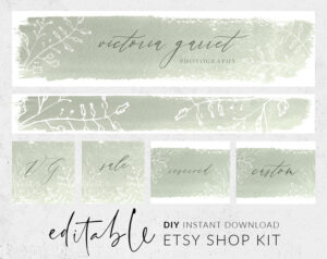 Sage Green Etsy Banner, Templett Template, Etsy Banner And Icon, Etsy Cover  Image, Watercolor Wash, Botanical Line Art, Calligraphy Banner regarding Etsy Banner Template