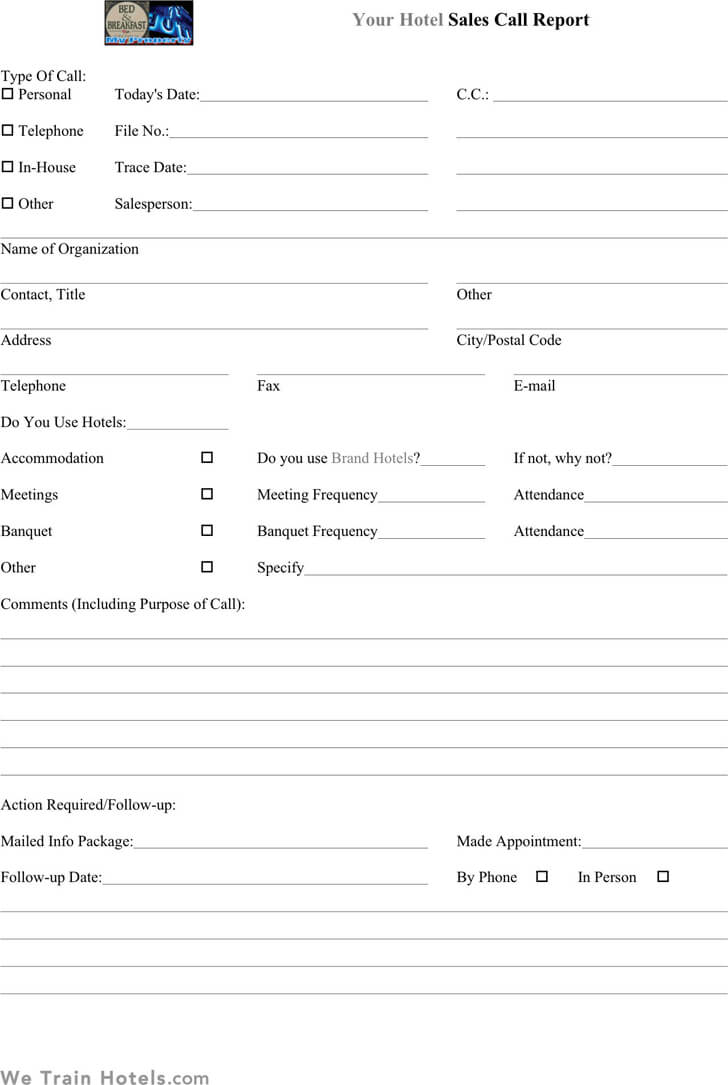 Sales Call Report Templates – Word Excel Fomats Throughout Sales Visit Report Template Downloads