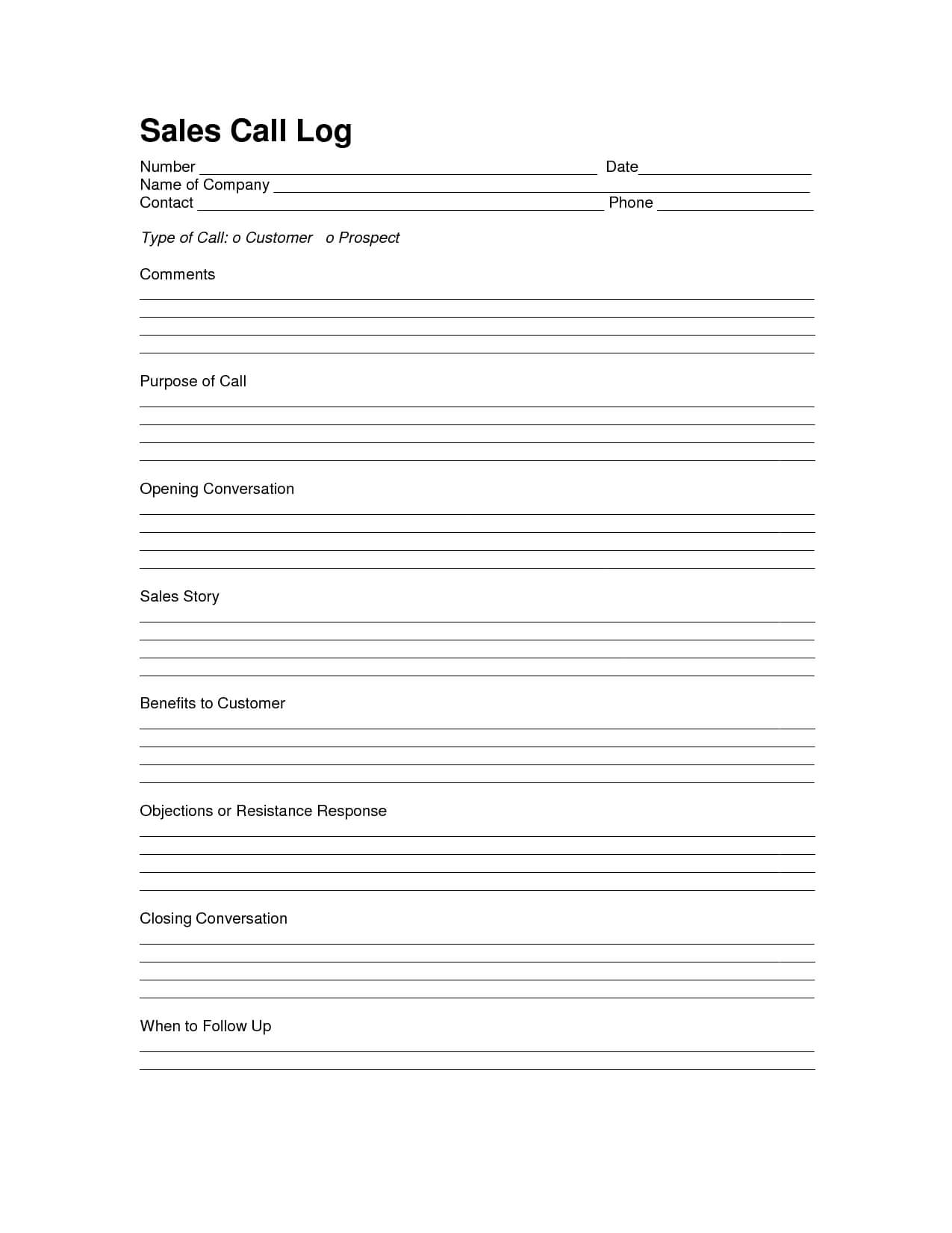 Sales Log Sheet Template | Sales Call Log Template | Call With Regard To Sales Call Reports Templates Free