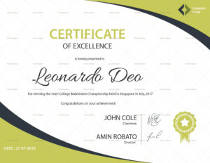 Sample Badminton Championship Excellence Certificate Template throughout Certificate Of Excellence Template Word