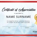 Sample Certificate Of Appreciation For Donation Regarding Donation Certificate Template