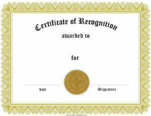 Sample Certificate Of Recognition Templates | Sample Certificate with regard to Template For Recognition Certificate