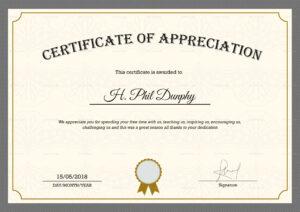Sample Company Appreciation Certificate Template for In Appreciation Certificate Templates