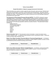 Sample Descriptions Of Speech-Language Assessment Instruments regarding Speech And Language Report Template