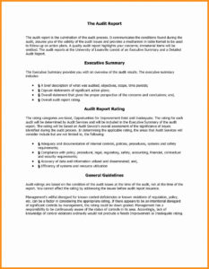 Sample Internal Audit Report with Internal Control Audit Report Template