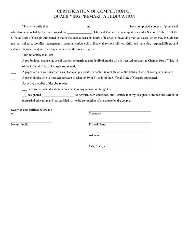 Sample Letter Of Completion Of Marriage Counseling – Fill Regarding Premarital Counseling Certificate Of Completion Template