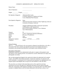 Sample Operative Note for Operative Report Template