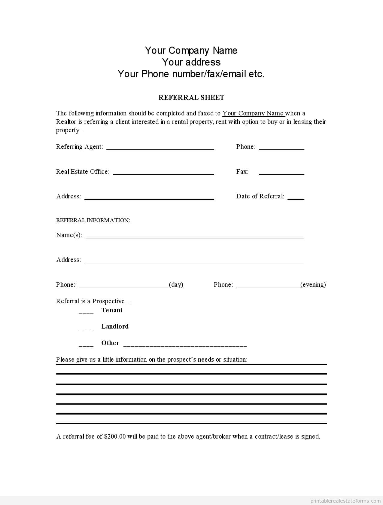 Sample Printable Referral Sheet For Realtors Form | Latest Within Referral Certificate Template